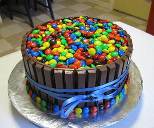 cake, chocolate, and m&m image