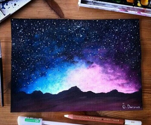 art, drawing, and stars image