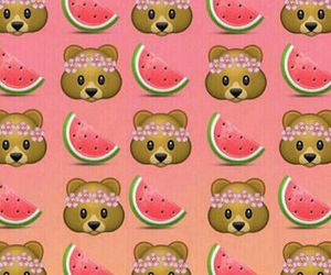 bear, watermelon, and wallpaper image