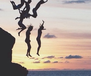 friends, summer, and jump image