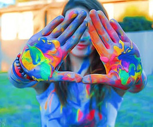 colorful, girl, and mess image