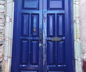 blue, door, and old image