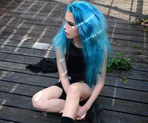 blue hair and hair image