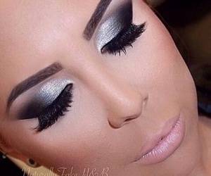 eyeliner and lipstick image
