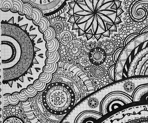 draw, mandala, and black image