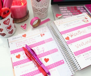 desk, hearts, and organization image