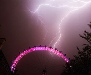 storm, lightning, and pink image