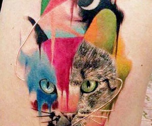 cat, tattoo, and colorful image