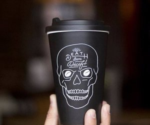 black, skull, and coffee image