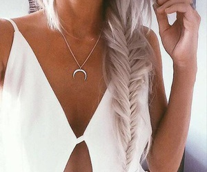 hair, white, and moon image