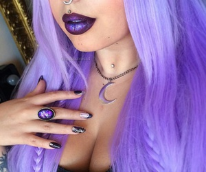 black tank top, moon necklaces, and straight purple hair image