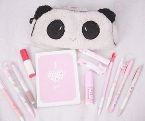 kawaii, pink, and panda image