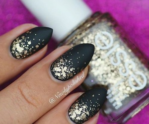 almond, black, and glitter image