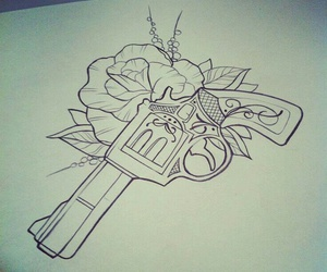 drawing, gun, and flowers image