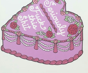 cake, drawing, and flower image