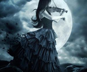moon, violin, and dark image