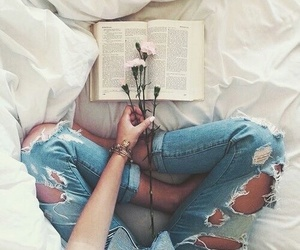 flowers, book, and jeans image