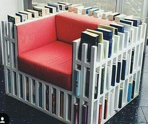 books, chair, and reading image