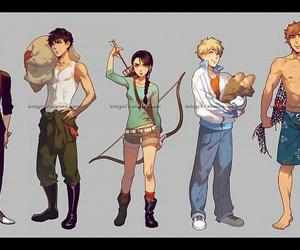gale, katniss, and peeta image