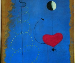 heart, moon, and surrealism image