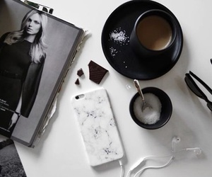 black and white, coffee, and marble case image
