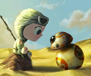 bb-8, rey, and star wars image