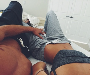 bed, Lazy, and couple image