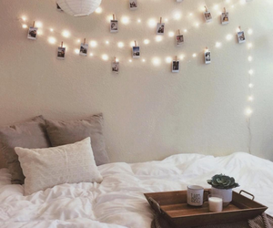 bedroom, bed, and lights image