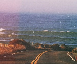 road, sea, and beach image
