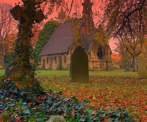 church, photography, and graveyard image