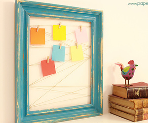 bulletin board, clips, and postit image