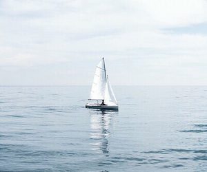 blue, boat, and ocean image