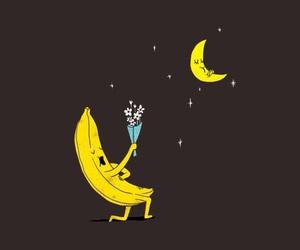 wallpaper, banana, and moon image