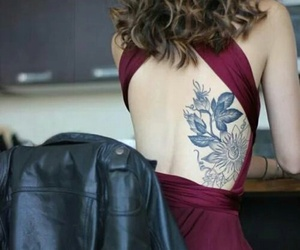 tattoo, dress, and flowers image