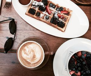 coffee, food, and strawberries image