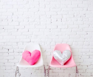 pink, heart, and chair image
