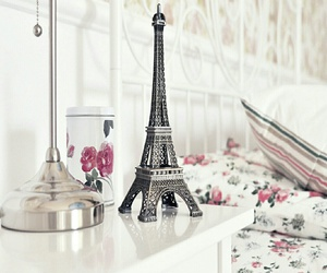 paris, eiffel tower, and flowers image