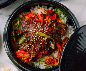 korean food, food, and bulgogi image