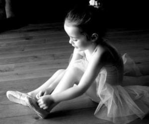 ballet, black and withe, and tiny dancer image