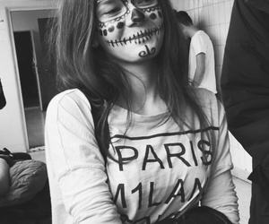 black, black and white, and makeup image
