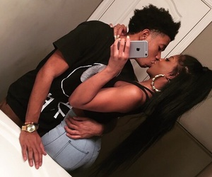 relationships, couple, and kissing image