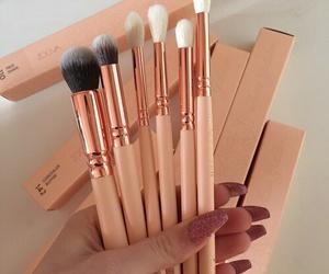 brown, makeup, and pink image