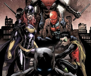 batman, red hood, and robin image