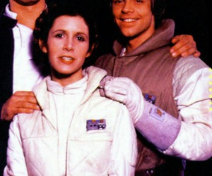 carrie fisher, harrison ford, and luke skywalker image