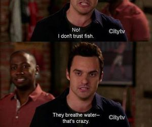 new girl, fish, and funny image