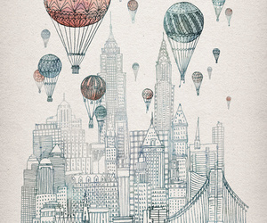 art, city, and balloons image