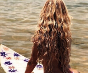 hair, surf, and summer image