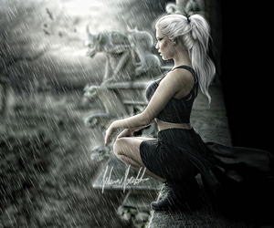 digital art, rain, and girl image