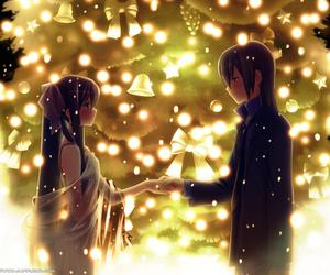anime, couple, and christmas image