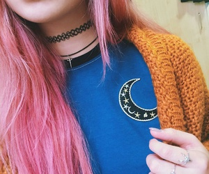 black choker necklaces, silver rings, and straight pink hair image